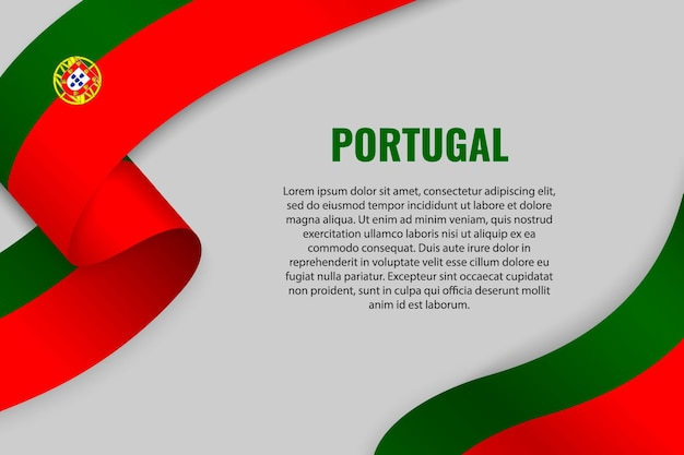 Waving ribbon or banner with flag of portugal