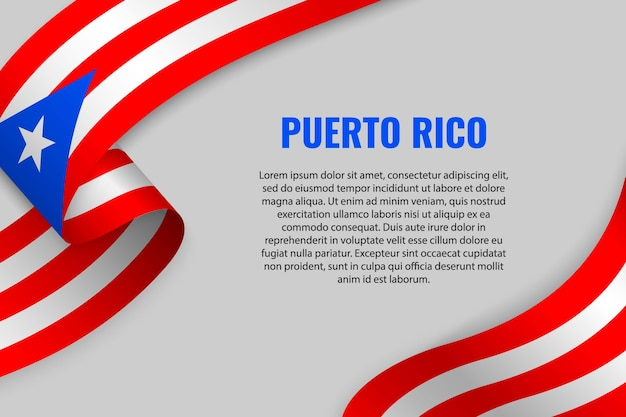 Waving ribbon or banner with flag of puerto rico
