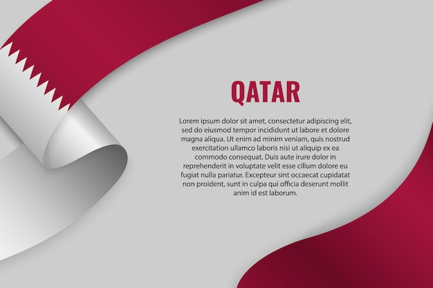 Waving ribbon or banner with flag of qatar