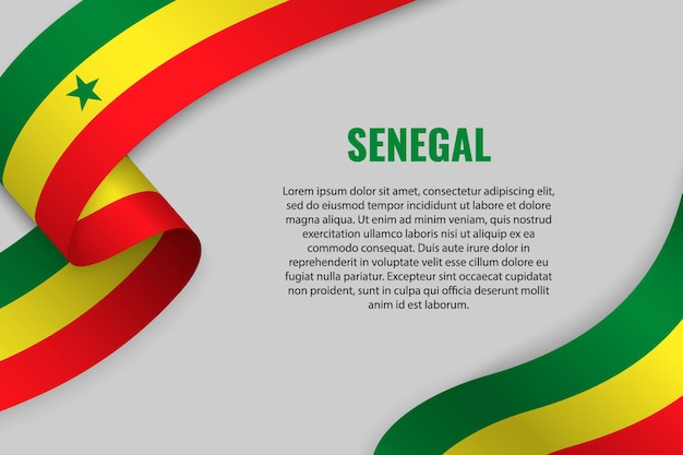 Waving ribbon or banner with flag of senegal