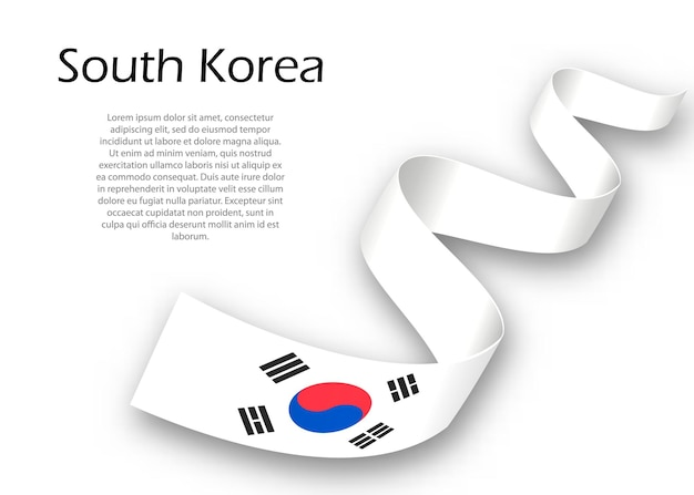 Waving ribbon or banner with flag of south korea. template for independence day poster design