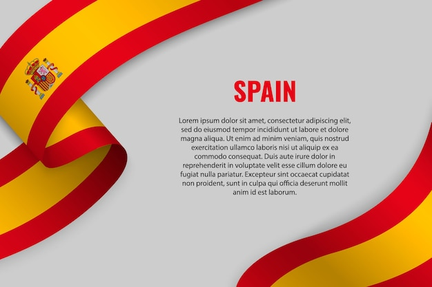Waving ribbon or banner with flag of spain