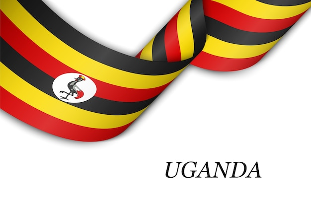 Waving ribbon or banner with flag of uganda.
