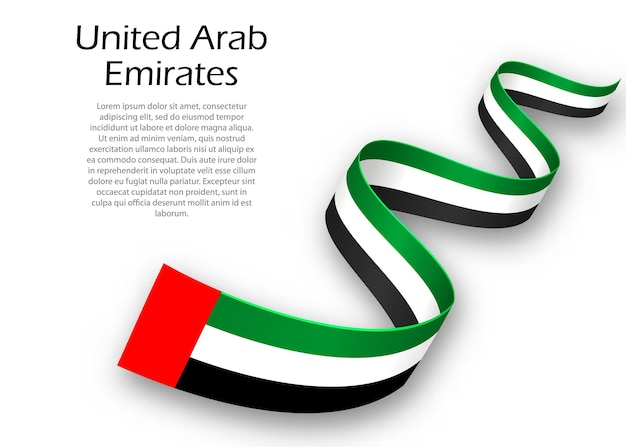 Waving ribbon or banner with flag of united arab emirates. template for independence day poster design