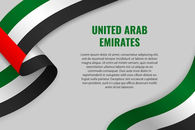 Waving ribbon or banner with flag of united arab emirates