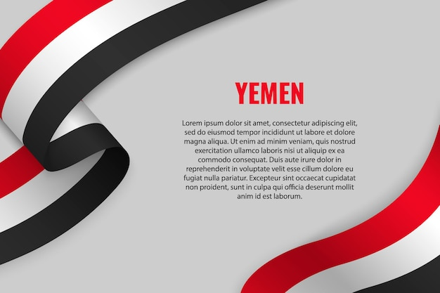 Waving ribbon or banner with flag of yemen
