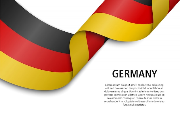 Waving ribbon or banner with flag Premium Vector