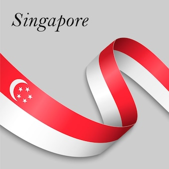 Waving ribbon or banner with flag