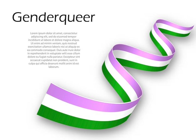 Waving ribbon or banner with genderqueer pride flag , vector illustration
