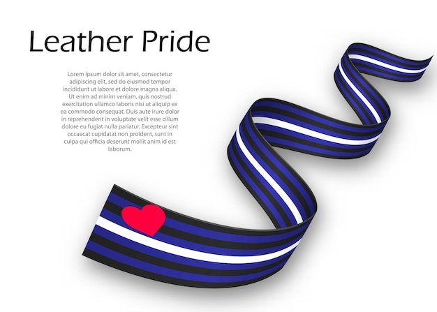 Waving ribbon or banner with leather pride flag , vector illustration