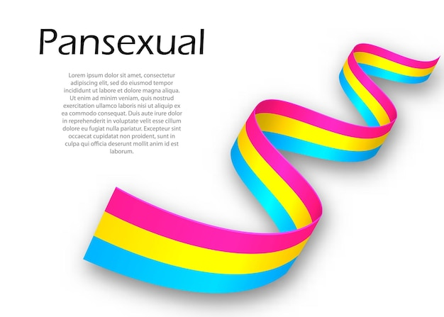 Waving ribbon or banner with pansexual pride flag , vector illustration