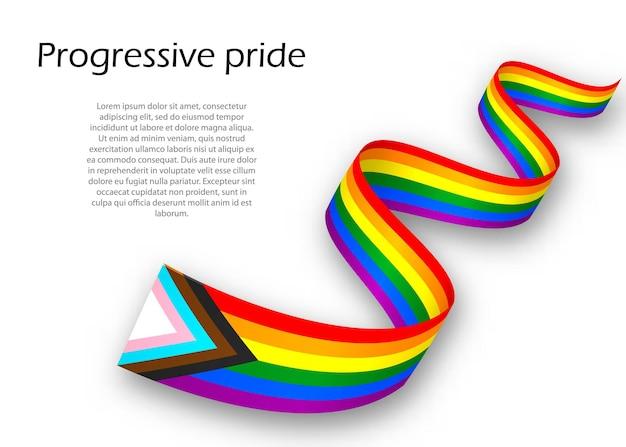 Waving ribbon or banner with progressive pride flag , vector illustration