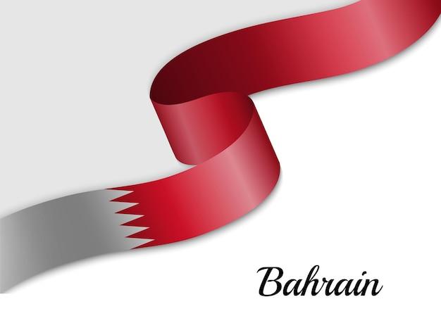 Waving ribbon flag of bahrain