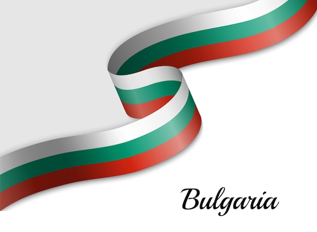 Waving ribbon flag of bulgaria