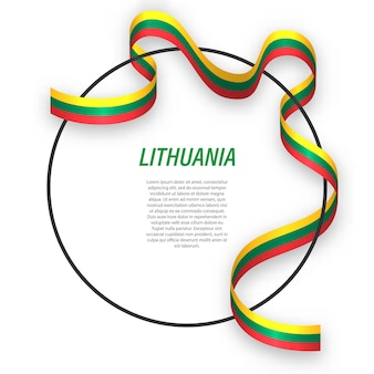 Waving ribbon flag of lithuania on circle frame.
