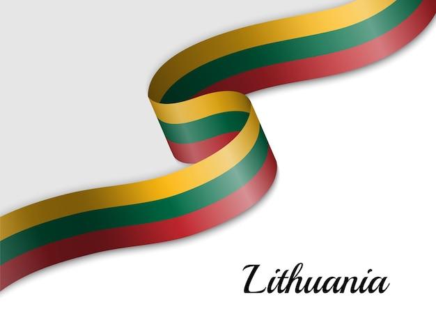 Waving ribbon flag of lithuania