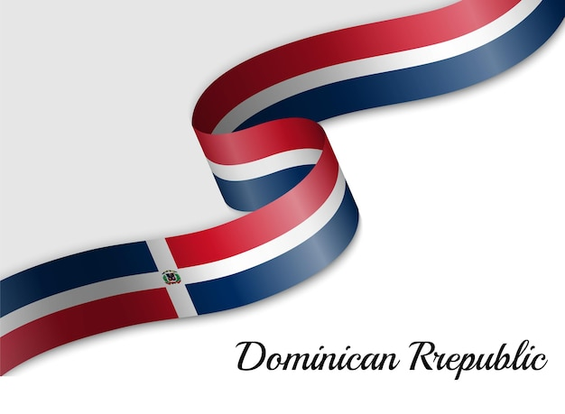 ドミニカ共和国のリボン旗を振る