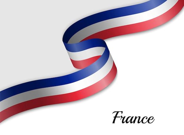 フランスのリボン旗を振る