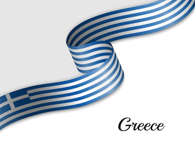 그리스의 리본 깃발을 흔들며