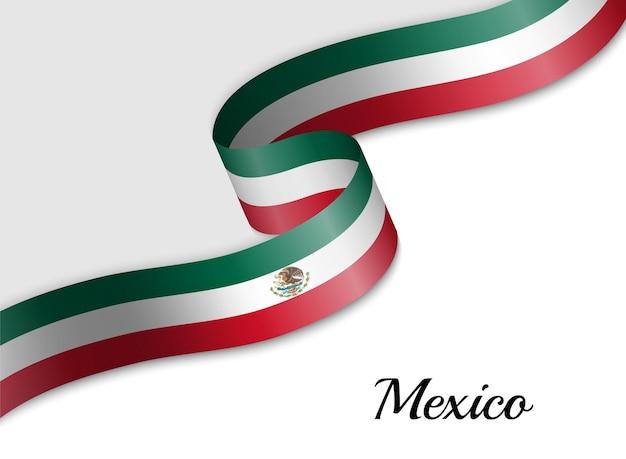 Развевающийся флаг мексики ленты