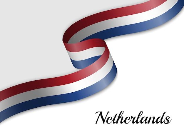 네덜란드의 리본 깃발을 흔들며