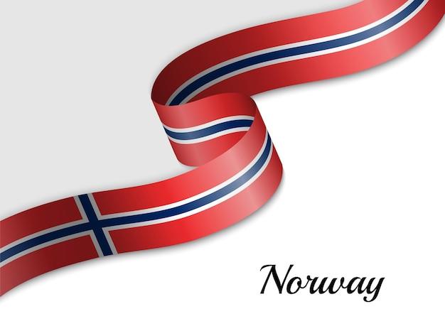 노르웨이의 리본 깃발을 흔들며