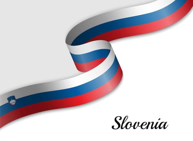 슬로베니아의 리본 깃발을 흔들며