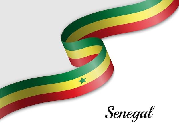 Waving ribbon flag of senegal