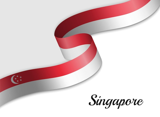 Waving ribbon flag of singapore
