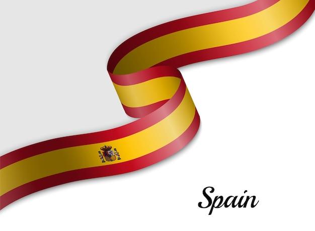 Waving ribbon flag of spain