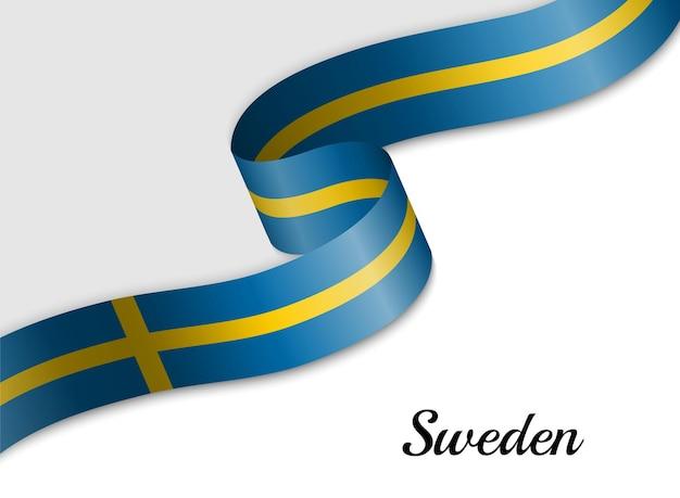 Waving ribbon flag of sweden