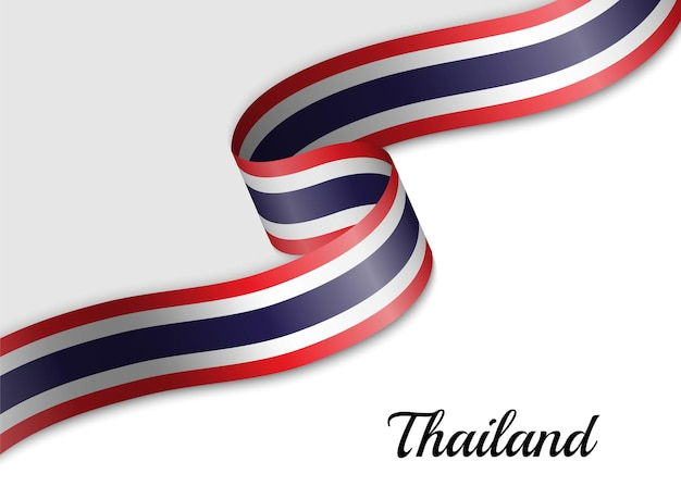 Waving ribbon flag of thailand