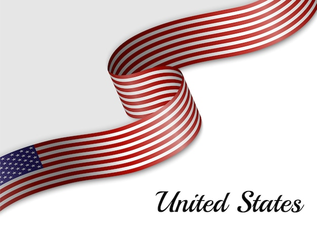 Waving ribbon flag of united states