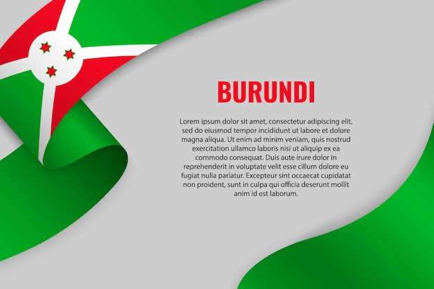 부룬디의 국기와 리본 또는 배너를 흔들며. 주형
