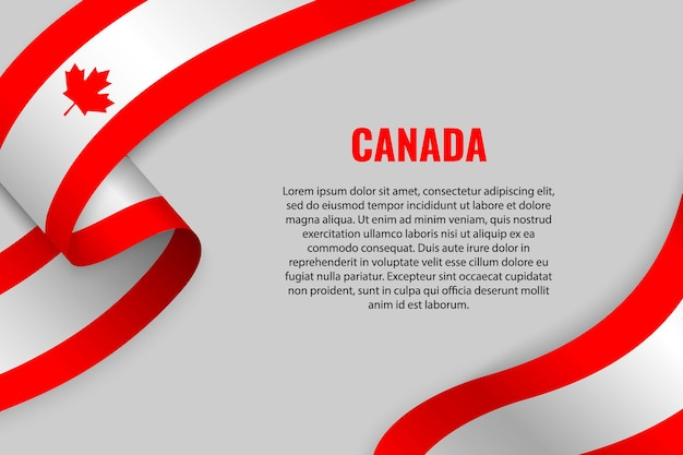 캐나다의 국기와 리본 또는 배너를 흔들며. 주형