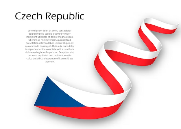 체코 공화국의 국기와 함께 리본 또는 배너를 흔들며. 독립 기념일 포스터 디자인을 위한 템플릿