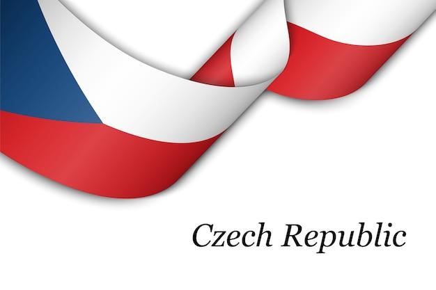 Размахивая лентой или знаменем с флагом чешской республики.