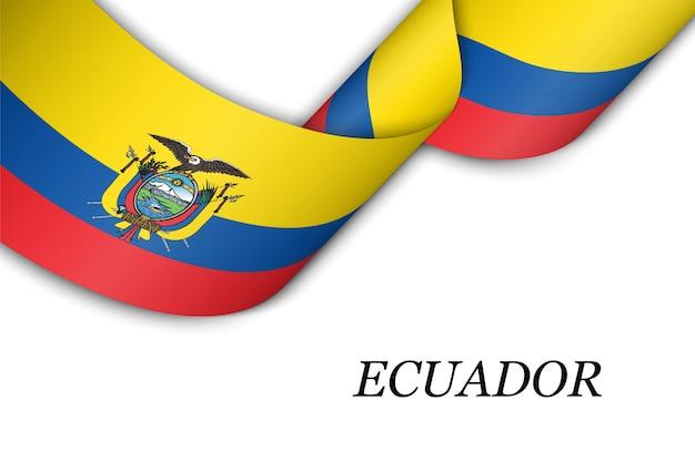Размахивая лентой или знаменем с флагом эквадора.