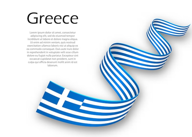 Размахивая лентой или знаменем с флагом греции. шаблон для дизайна плаката ко дню независимости
