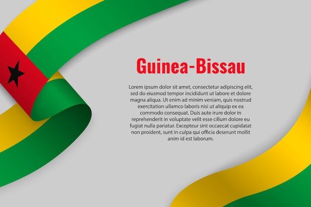 Развевающаяся лента или знамя с флагом гвинеи-бисау
