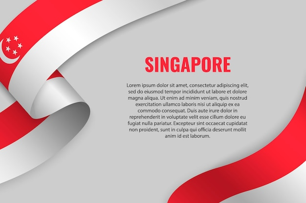 シンガポールの旗とリボンやバナーを振る