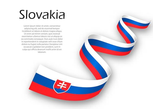슬로바키아의 국기가 달린 리본이나 배너를 흔들고 있습니다. 독립 기념일 포스터 디자인을 위한 템플릿