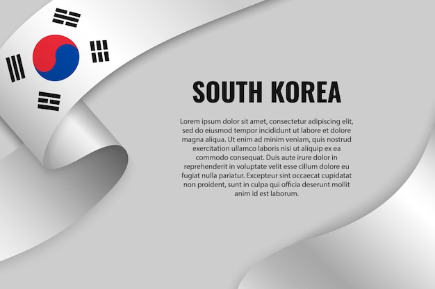 대한민국 국기와 리본 또는 배너를 흔들며