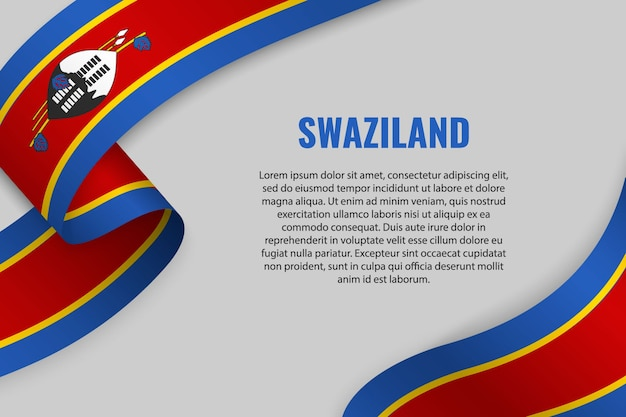 スワジランドの旗とリボンやバナーを振る