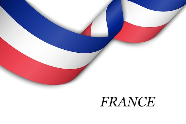 Waving ribbon with flag of france.