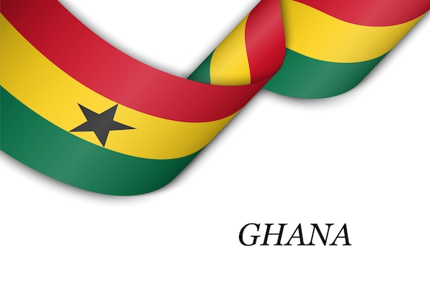 Waving ribbon with flag of ghana.