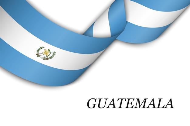 Waving ribbon with flag of guatemala.