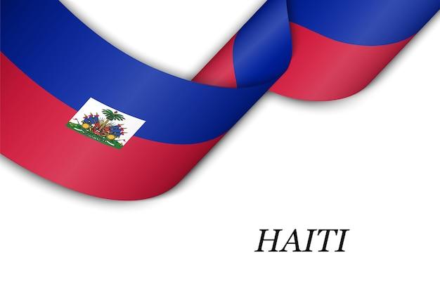 Waving ribbon with flag of haiti.