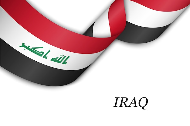 Waving ribbon with flag of iraq.