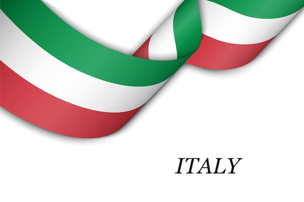 Waving ribbon with flag of italy.